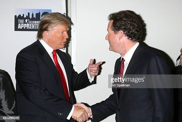 Donald Trump and Piers Morgan attend The Celebrity Apprentice season finale at the American Museum of Natural History on May 10, 2009 in New York...