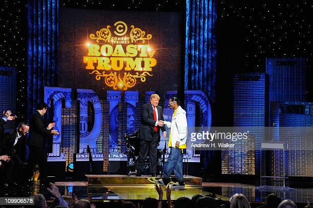 Donald Trump and rapper Snoop Dogg perform onstage at the Comedy Central Roast Of Donald Trump at the Hammerstein Ballroom on March 9 2011 in New...