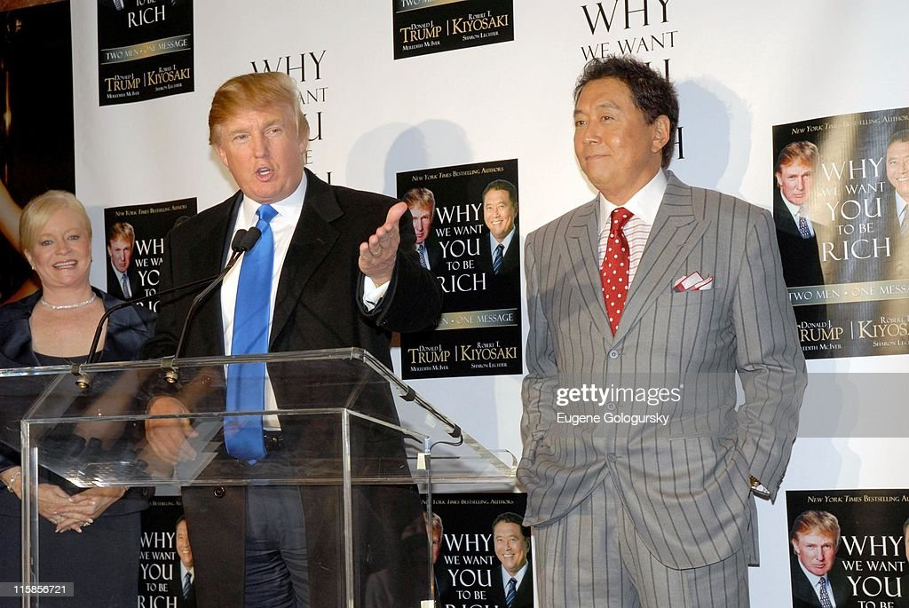 Donald Trump and Robert Kiyosaki during Donald Trump and Robert Kiyosaki Host a Press Briefing to Launch Their New Book 'Why We Want You To Be Rich' at Trump Tower in New York City, New York, United States.
