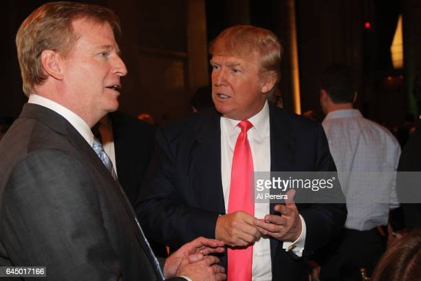 Donald Trump and Roger Goodell attend the NY Jets kickoff luncheon party at Cipriani Wall Street on August 27 2008 in New York