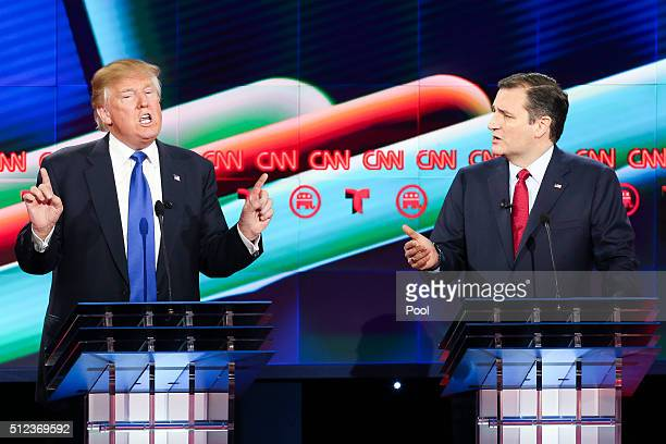 Donald Trump and Sen. Ted Cruz talk over each other in the Republican presidential debate at the Moores School of Music at the University of Houston...