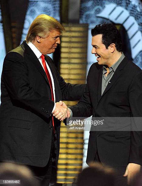 Donald Trump and Seth MacFarlane speak onstage at the COMEDY CENTRAL Roast of Donald Trump at the Hammerstein Ballroom on March 9 2011 in New York...