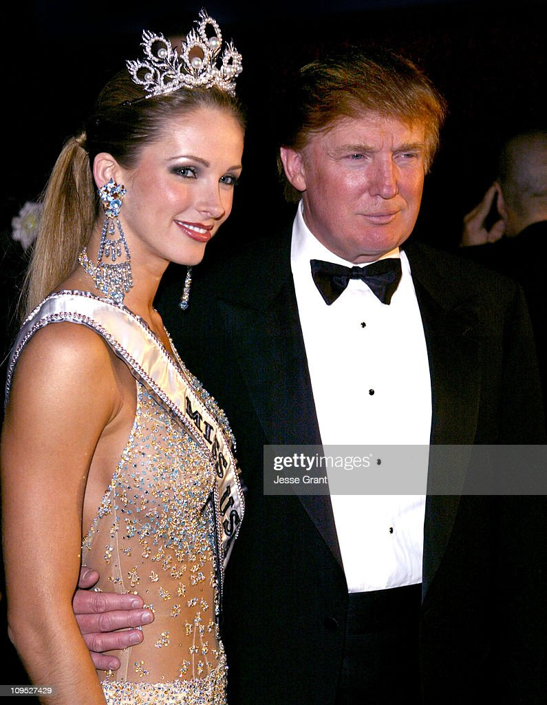 Donald Trump and Shandi Finnessey, Miss USA 2004 during The 53rd Annual Miss USA Competition - After Party at Avalon in Hollywood, California, United States.