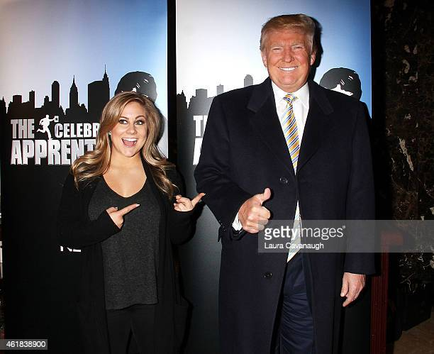Donald Trump and Shawn Johnson attend Celebrity Apprentice Red Carpet Event at Trump Tower on January 20 2015 in New York City