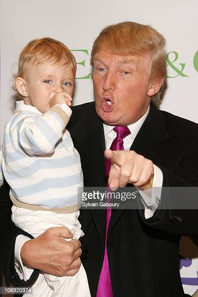 Donald Trump and son Barron Trump during The Society Of Memorial SloanKettering Cancer Center's 16th Annual 'Bunny Hop' at FAO Schwarz Fifth Avenue...