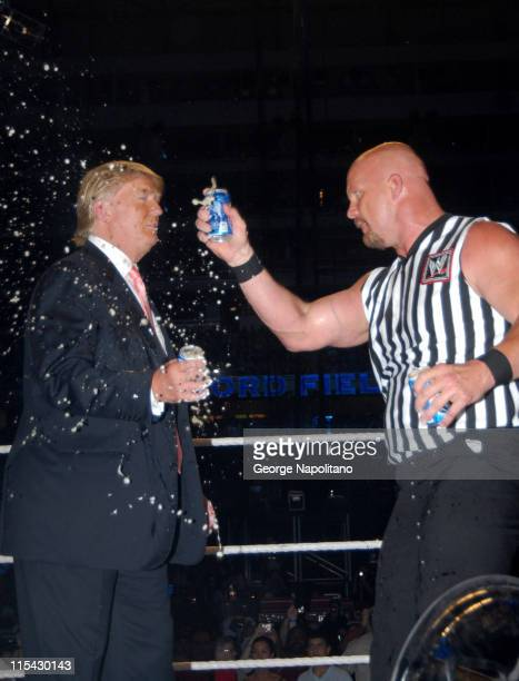 Donald Trump and Steve Austin toast Vince McMahon's head shaving at the hands of Donald Trump with a cold can of beer.
