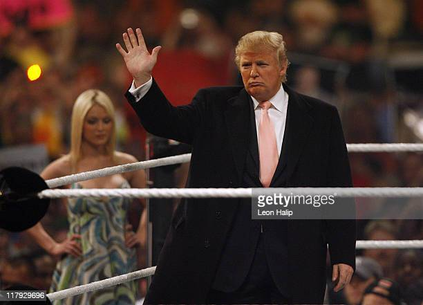 Donald Trump and Tara Conner former Miss USA enter the stadium prior to the start of the main event of the night Hair vs Hair at WrestleMania23...