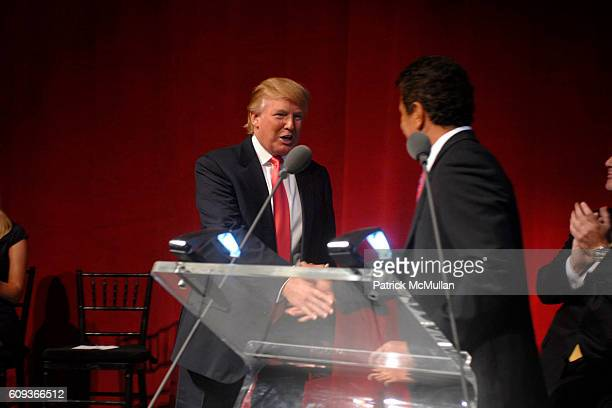 Donald Trump and Tevfik Arif attend TRUMP SOHO Press Conference at Trump Soho Construction Site on September 19 2007 in New York City