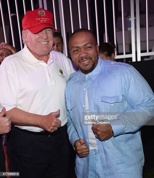 Donald Trump and Timbaland attend GREY GOOSE Vodka and the Cadillac Championship Toast Travie McCoy at the Trump National Doral on March 8 2014 in...