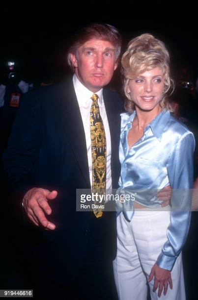 Donald Trump and wife Marla Maples walks in the tunnel as they attend the Mike Tyson and Peter McNeeley fight on August 19 1995 at the MGM Grand Las...