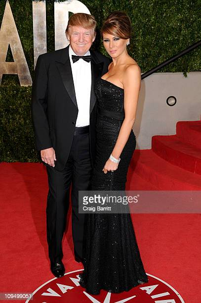 Donald Trump and wife Melania Trump arrive at the Vanity Fair Oscar party hosted by Graydon Carter held at Sunset Tower on February 27 2011 in West...