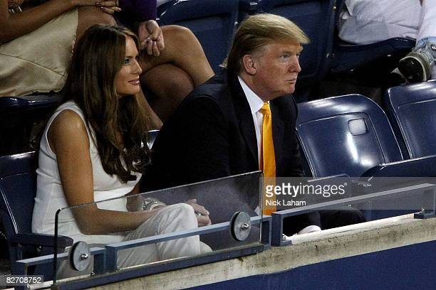 Donald Trump and wife Melania Trump watch the women's singles finals between Serena Williams of the United States and Jelena Jankovic of Serbia...