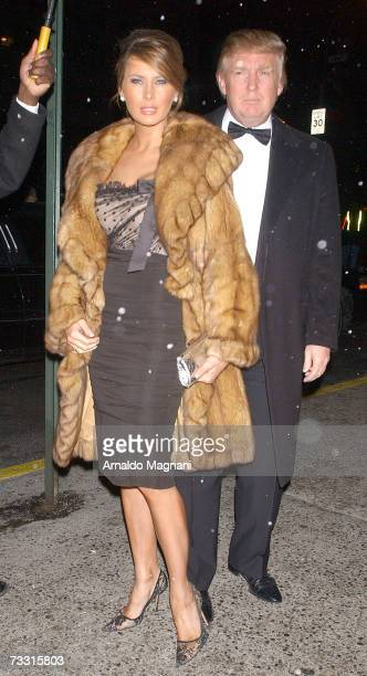 Donald Trump and wife Melanie Knauss arrive to Stephen A Schwarzman's 60th birthday party on Park Avenue and 67th Street February 13 2007 in New York...