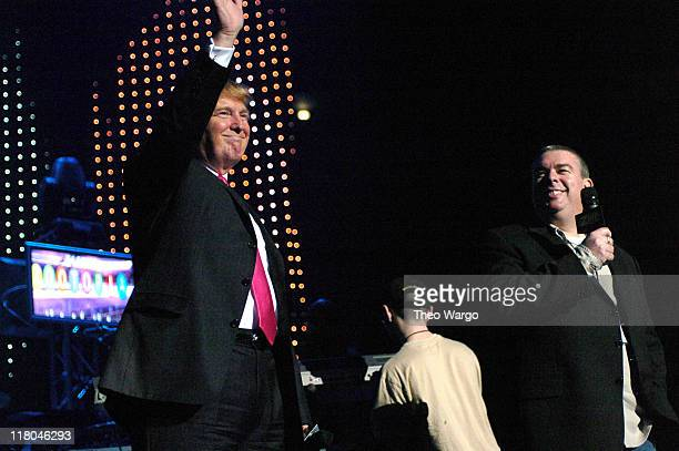 Donald Trump and Z100's Elvis Duran during Z100's Zootopia 2004 Show at Madison Square Garden in New York City New York United States