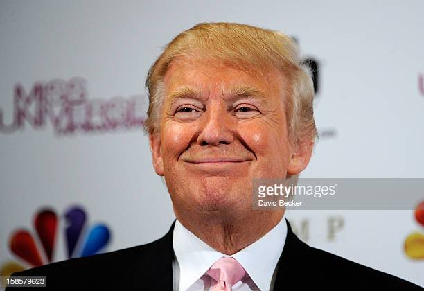 Donald Trump appears at a news conference after the 2012 Miss Universe Pageant at PH Live at Planet Hollywood Resort Casino on December 19 2012 in...