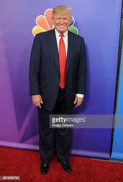 Donald Trump arrives at day 2 of the NBCUniversal 2015 Press Tour at The Langham Huntington Hotel and Spa on January 16 2015 in Pasadena California