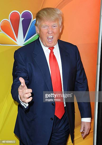 Donald Trump arrives at NBCUniversal's 2015 Winter TCA Tour - Day 2 at The Langham Huntington Hotel and Spa on January 16, 2015 in Pasadena,...