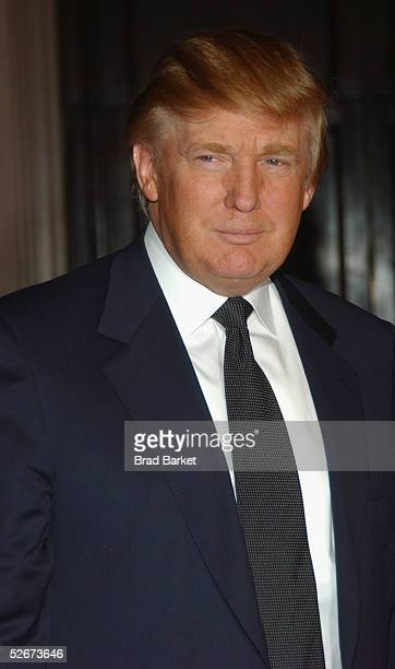 Donald Trump arrives at the Breast Cancer Research Foundation's Annual Hot Pink Party at the WaldorfAstoria on April 20 2005 in New York