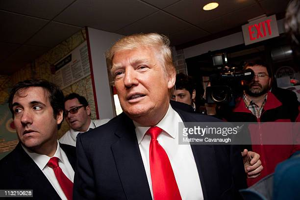 Donald Trump arrives at the Roundabout Diner on April 27 2011 in Portsmouth New Hampshire Trump is testing the waters for a possible run for the...