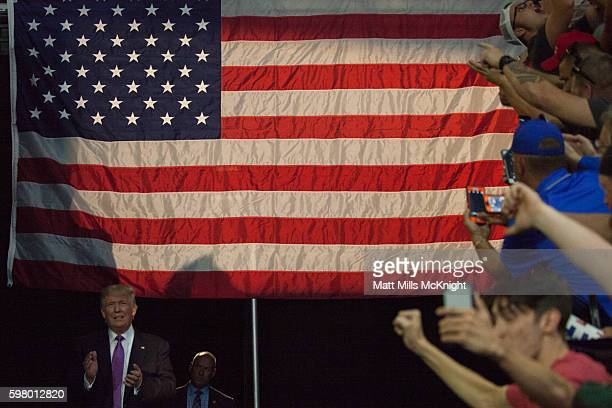 Donald Trump arrives to a campaign rally on August 30 2016 in Everett Washington Trump addressed immigration issues on the same night that his...