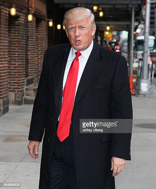 Donald Trump arrives to 'Late Show with David Letterman' at Ed Sullivan Theater on March 26 2013 in New York City
