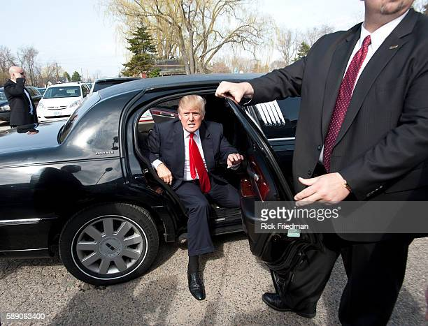 Donald Trump arriving in his limo at Newick's Lobster House while campaigning in Dover NH on April 27 2011