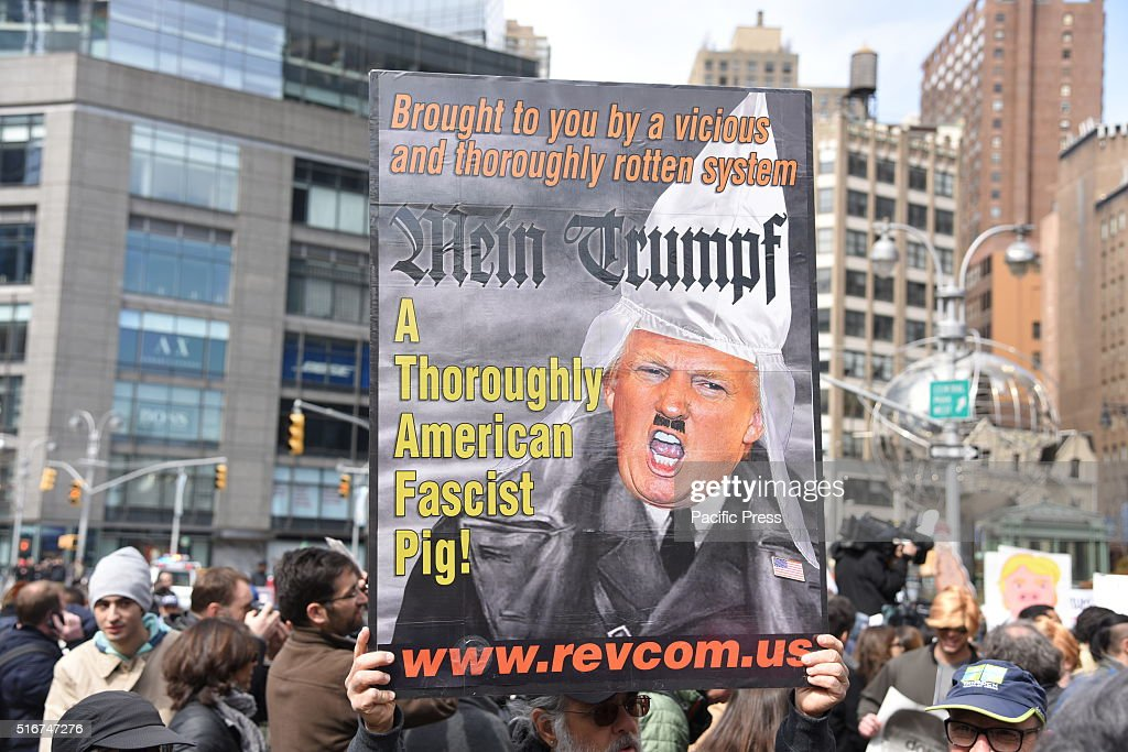 Donald Trump as Adolf Hitler sign at rally in Columbus... : News Photo