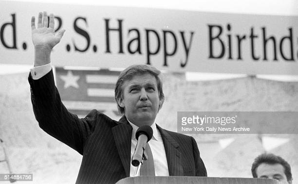 Donald Trump at Podium during birthday party in his honor in Atlantic City NJ