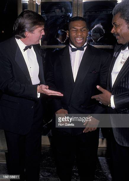 Donald Trump athlete Mike Tyson and promoter Don King attend March of Dimes Gourmet Gala on November 21 1989 at the Plaza Hotel in New York City