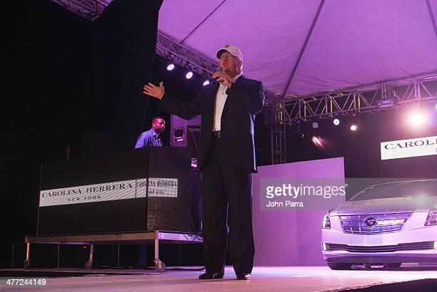 Donald Trump attend the Carolina Herrera Fashion Show with GREY GOOSE Vodka at the Cadillac Championship at Trump National Doral on March 7 2014 in...