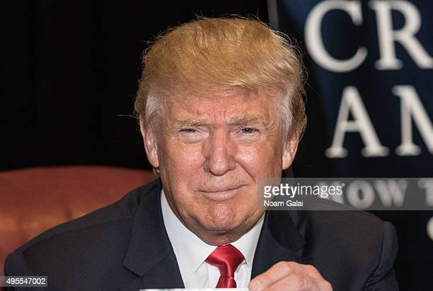 Donald Trump attends a press conference for the release of his new book 'Crippled America' at Trump Tower on November 3 2015 in New York City