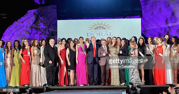 Donald Trump attends Miss Universe Welcome Event and Reception at Downtown Doral Park on January 9, 2015 in Doral, Florida.