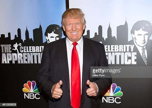 Donald Trump attends the Celebrity Apprentice Red Carpet Event at Trump Tower on January 5 2015 in New York City