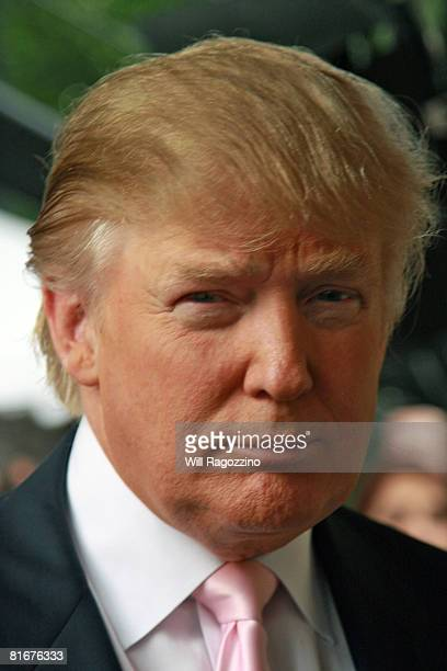Donald Trump attends the debut of a Lego replica of the Trump International Hotel Tower Dubai on June 23 2008 at Central Park in New York City