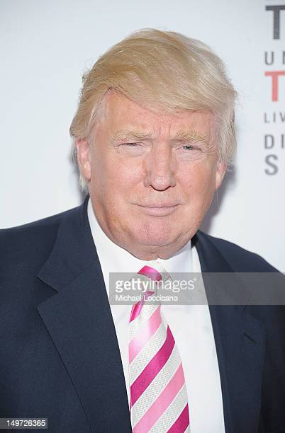 Donald Trump attends the 'Mike Tyson Undisputed Truth' Broadway Opening Night at Longacre Theatre on August 2 2012 in New York City