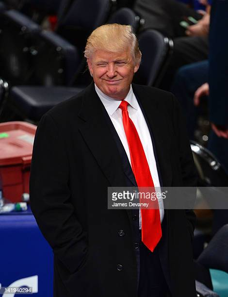 Donald Trump attends the Milwaukee Bucks vs New York Knicks game at Madison Square Garden on March 26 2012 in New York City