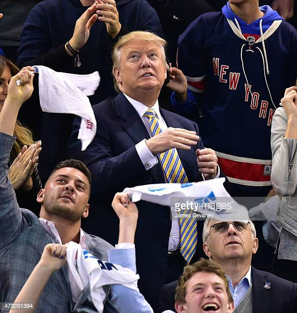 Donald Trump attends the Washington Capitals vs New York Rangers game at Madison Square Garden on May 13 2015 in New York City