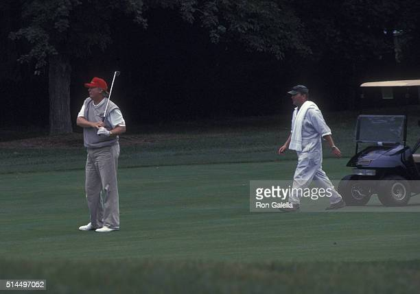 Donald Trump attends Trump National Golf Tournament on July 27 2002 at Briarcliff Manor in Pleasantville New York