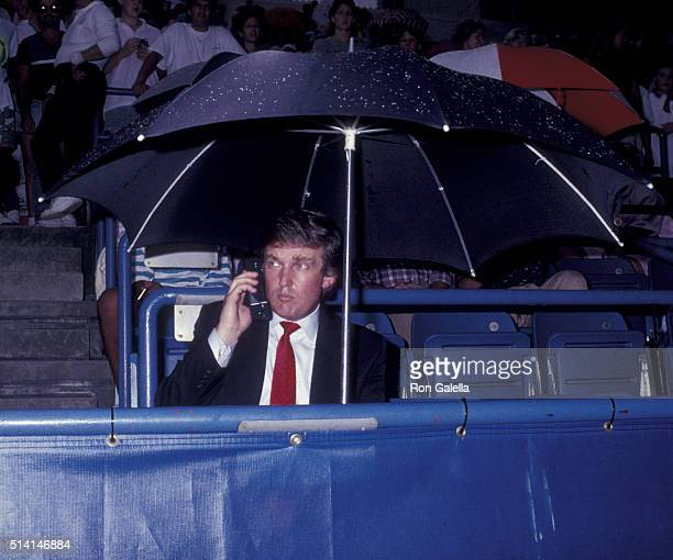 Donald Trump attends US Open Tennis Tournament on August 29 1989 at Flushing Meadow Park in New York City