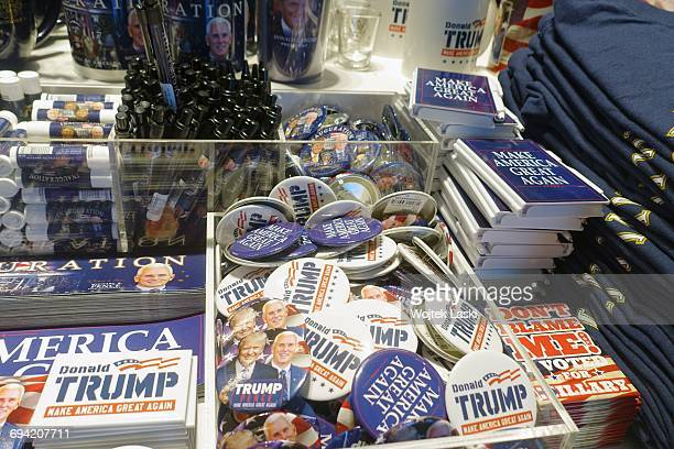 Donald Trump badges and fridge magnets on sale in a gadget and souvenir shop in Los Angeles USA January 2017 Trump merchandise is heavily in demand...