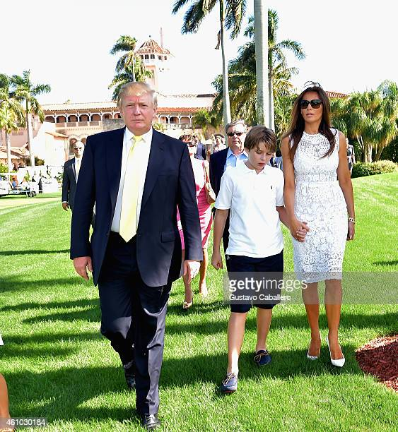 Donald Trump Barron Trump and Melania Trump attends Trump Invitational Grand Prix MaraLago Club at The MaraLargo Club on January 4 2015 in Palm Beach...
