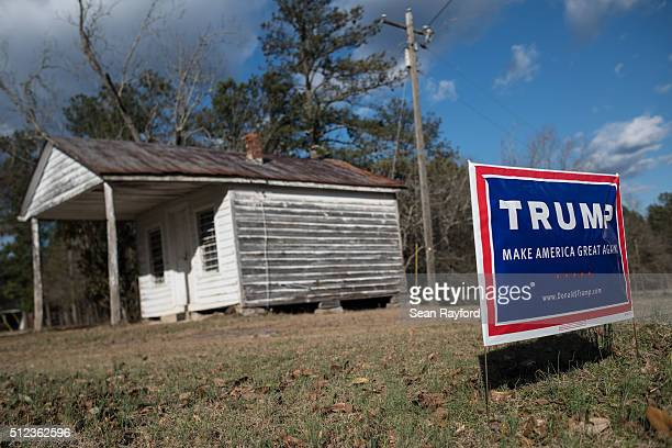 Donald Trump campaign sign sits along state Route 521 Thursday February 25 2016 near Westville South Carolina Businessman Donald Trump won 325 % of...
