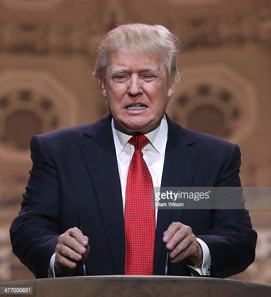 Donald Trump chairman and president of the Trump Organization speaks at the CPAC Conference on March 6 2014 in National Harbor Maryland The American...