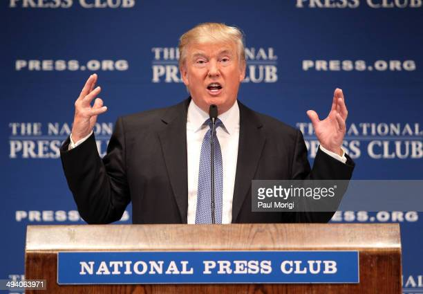 """Donald Trump, chairman and president of the Trump Organization, discusses """"Building the Trump Brand"""" at The National Press Club on May 27, 2014 in..."""