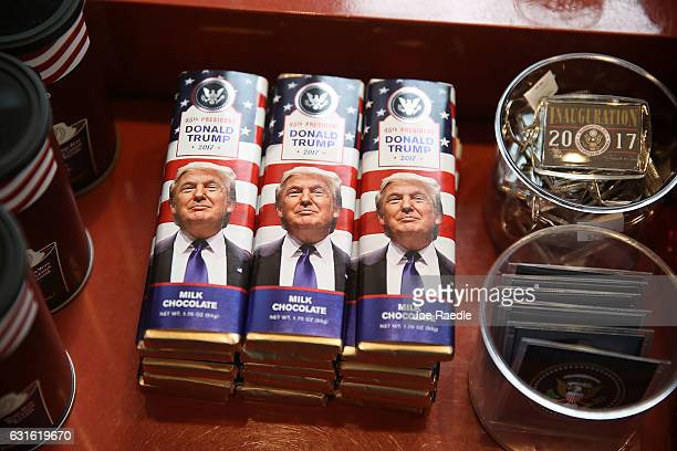 Donald Trump chocolate bars are seen for sale on the store shelf of Stars and Stripes store as President elect Donald Trump prepares to take the...