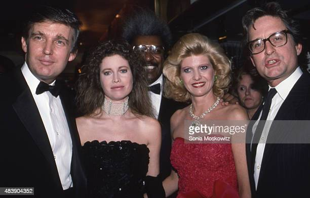 Donald Trump, Diandra Douglas, Don King, Ivana Trump, and Michael Douglas attend a Trump Book Party in December 1987 at the Trump Tower in New York...