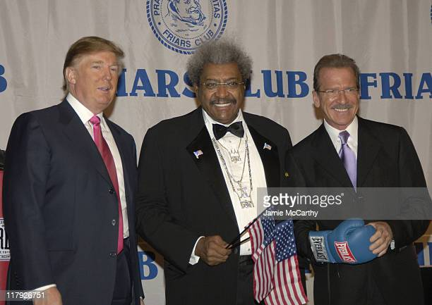 Donald Trump, Don King and Pat O'Brien during The Friars Club Roast of Don King at The New York Hilton in New York City, New York, United States.