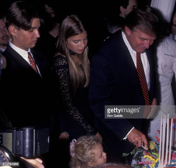 Donald Trump Donald Trump Jr and Ivanka Trump attend 50th Birthday Party for Donald Trump on June 13 1996 at Trump Tower in New York City