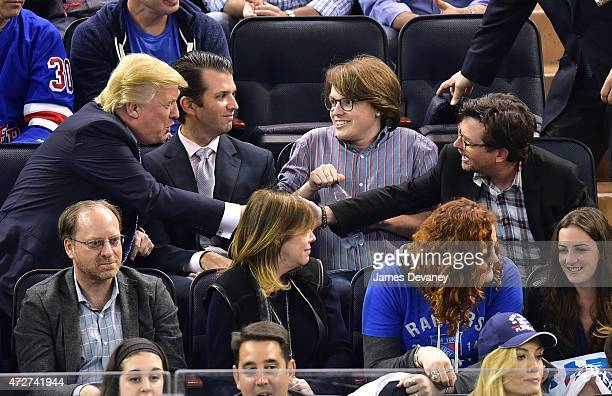 Donald Trump Donald Trump Jr Sam Michael Fox and Michael J Fox attend the Washington Capitals vs New York Rangers game at Madison Square Garden on...