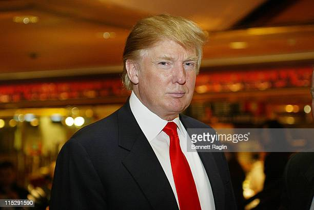 Donald Trump during Donald Trump and His Latest 'Apprentice' Randal Pinkett Search for the Next 'Apprentice' Candidates at Trump Tower in New York...